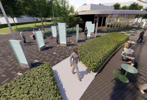 "This is what the ""NFL 100 Year Player Recognition Steles"" at the Centennial Plaza will look like."