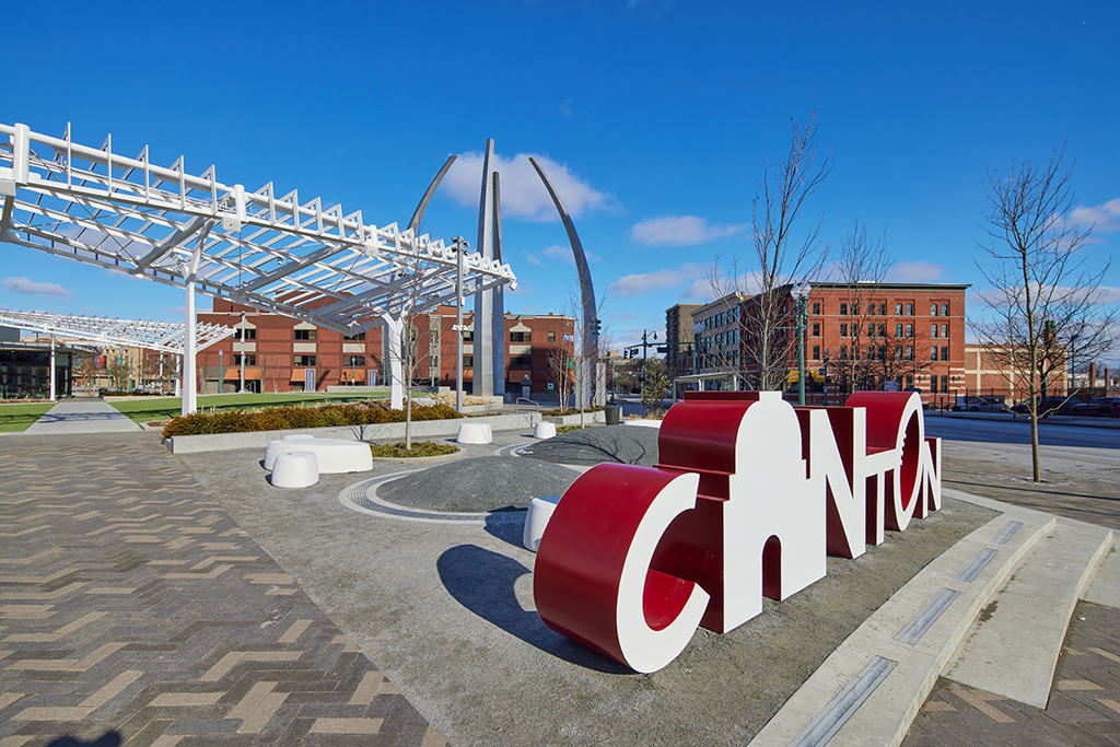 Canton Centennial Plaza view of the Canton Script